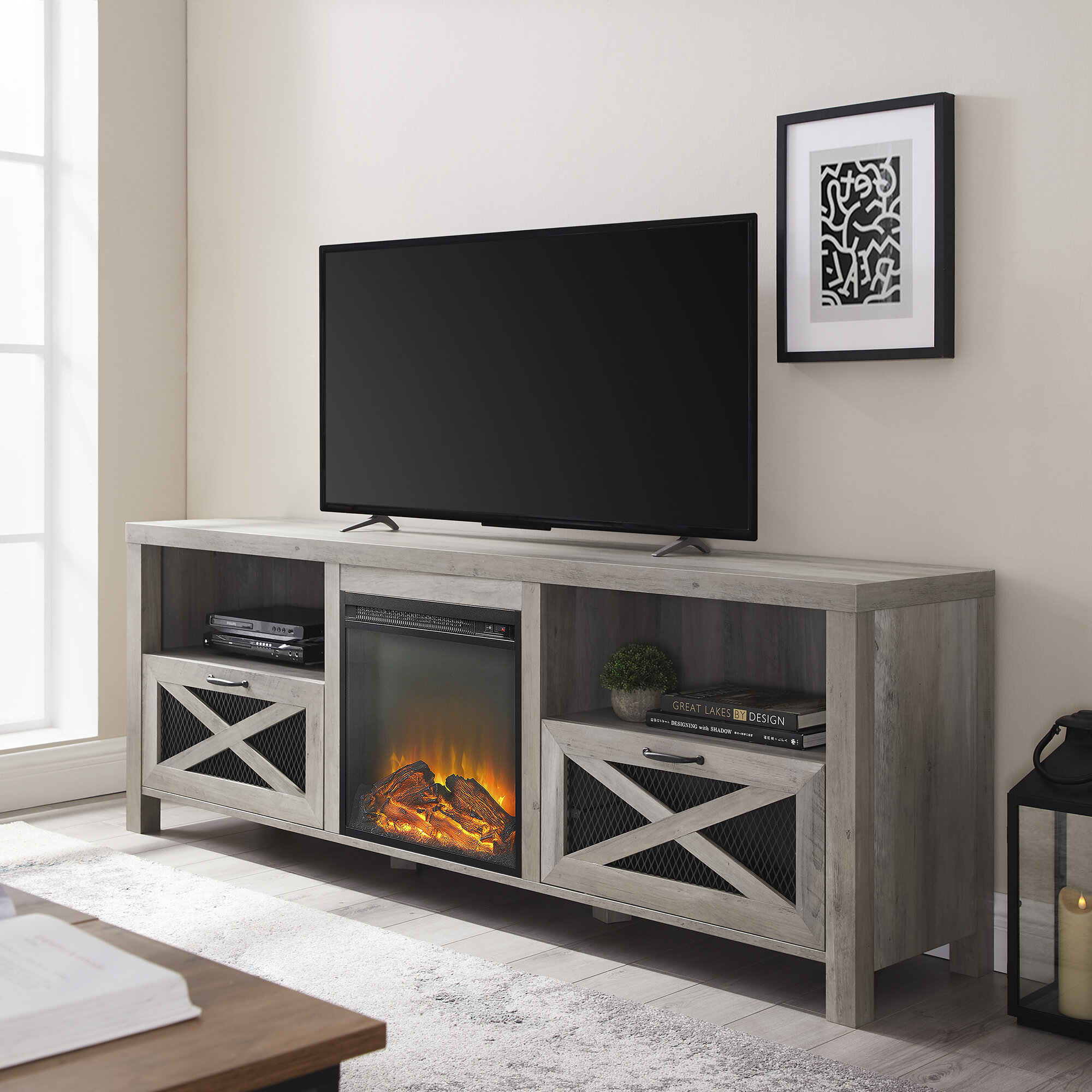 tansey tv stand for tvs up to 70 with electric fireplace