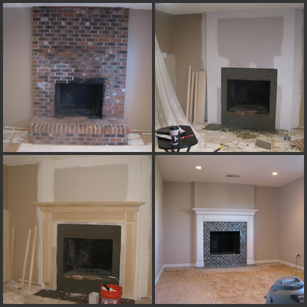 Brick Fireplace Remodel Before and After
