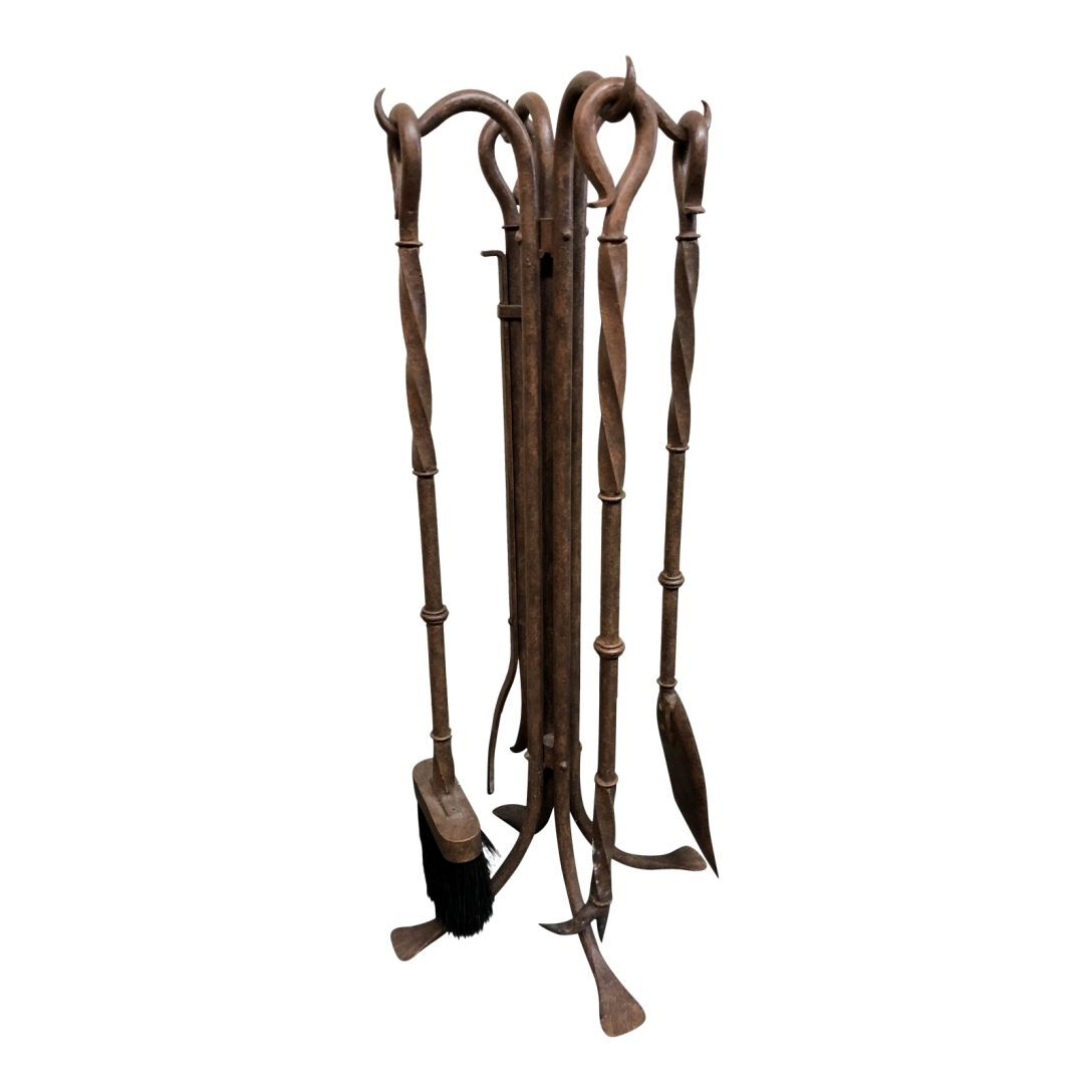 attractive bronze fireplace tools