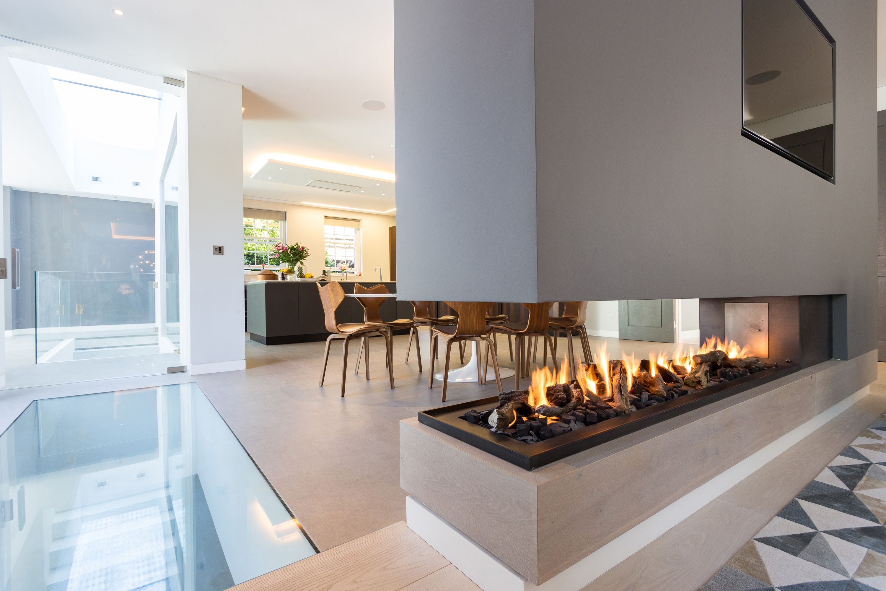 Built In Gas Fireplace Luxury This Stunning Three Sided Gas Fireplace forms Part Of A Room