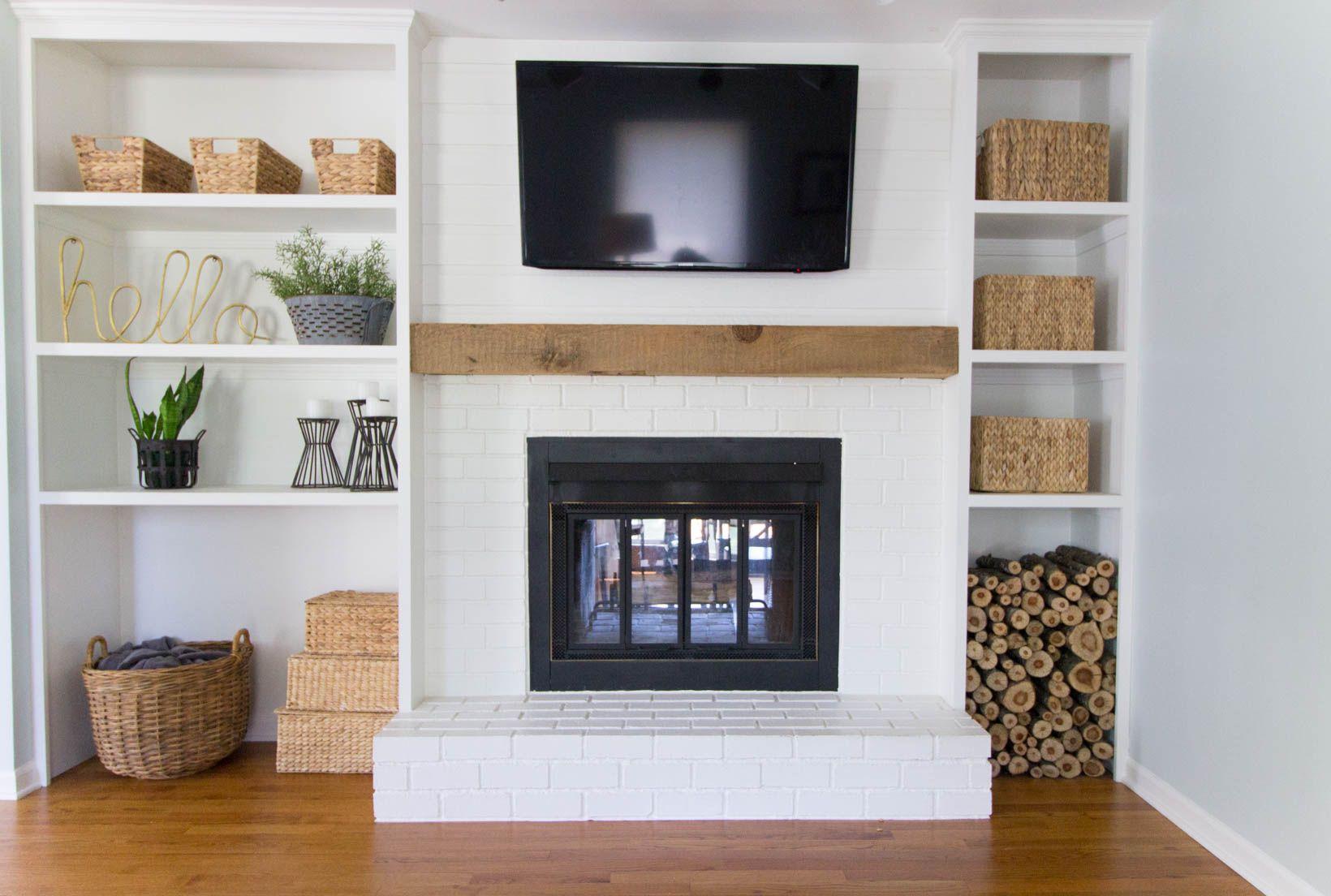 Built In Wall Fireplace Inspirational Built In Shelves Around Shallow Depth Brick Fireplace