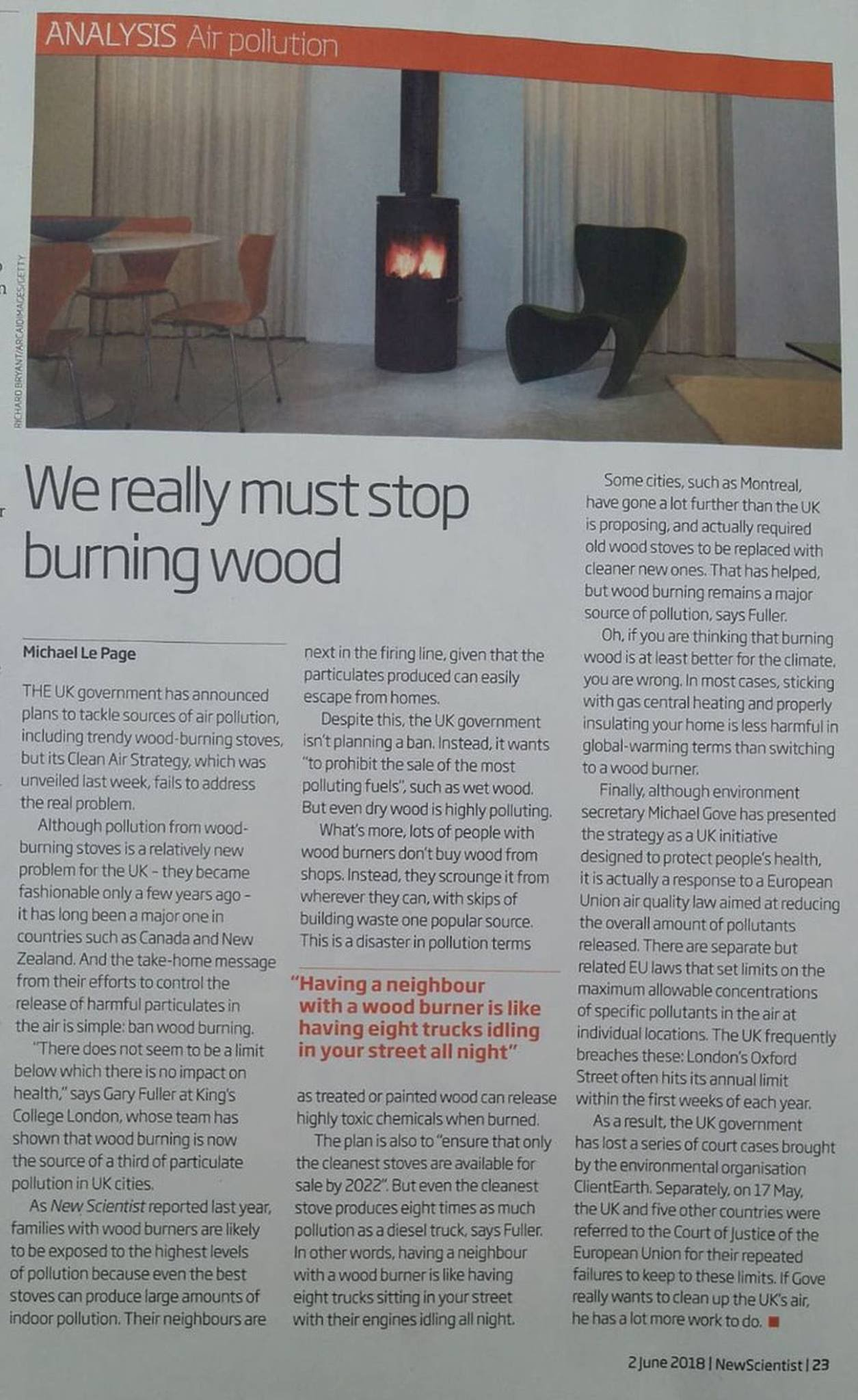 New Scientist June2018 LePage We really must stop burning wood