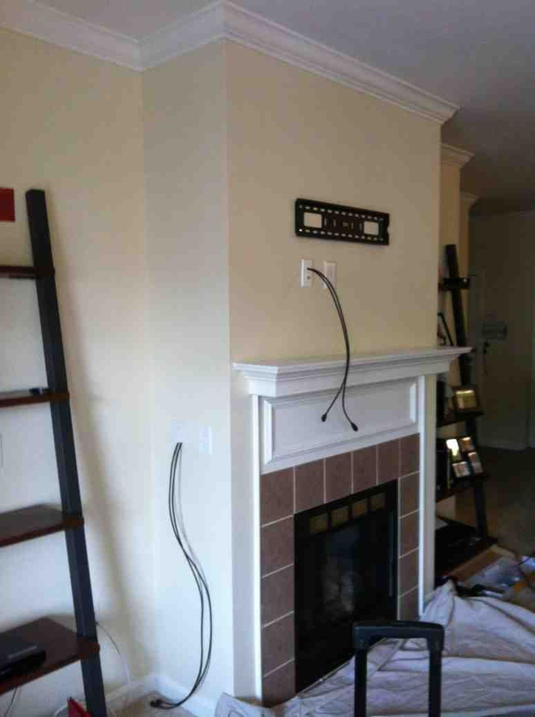 Can You Mount A Tv On A Brick Fireplace Elegant Concealing Wires In the Wall Over the Fireplace before the