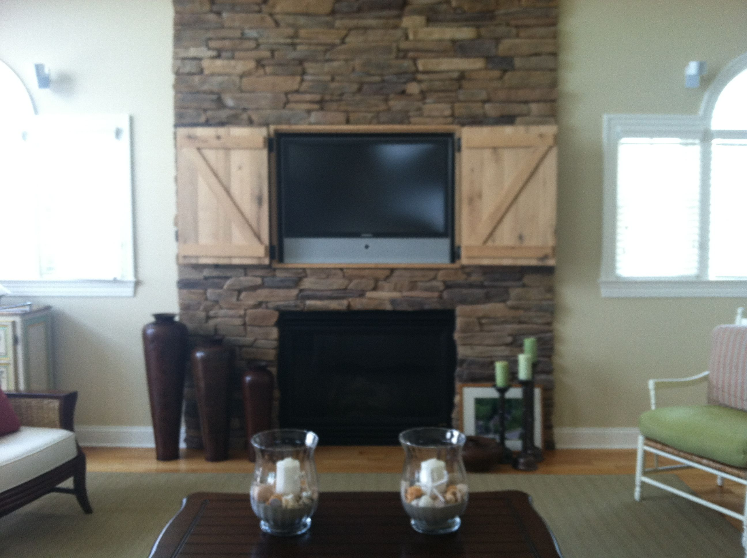 Can You Mount A Tv On A Brick Fireplace Unique Hidden Tv Over Fireplace Open Doors Decor and Design