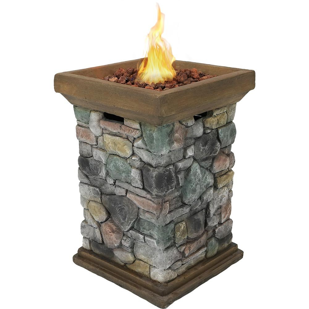 Cast Iron Outdoor Fireplace Elegant Sunnydaze Propane Fire Pit Column Outdoor Gas Firepit for Outside Patio & Deck with Cast Rock Design Lava Rocks Waterproof Cover and Steel