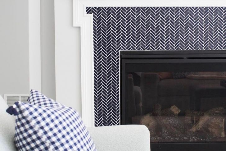 Cement Tile Fireplace Beautiful Navy Gingham Pillow Beautiful Design