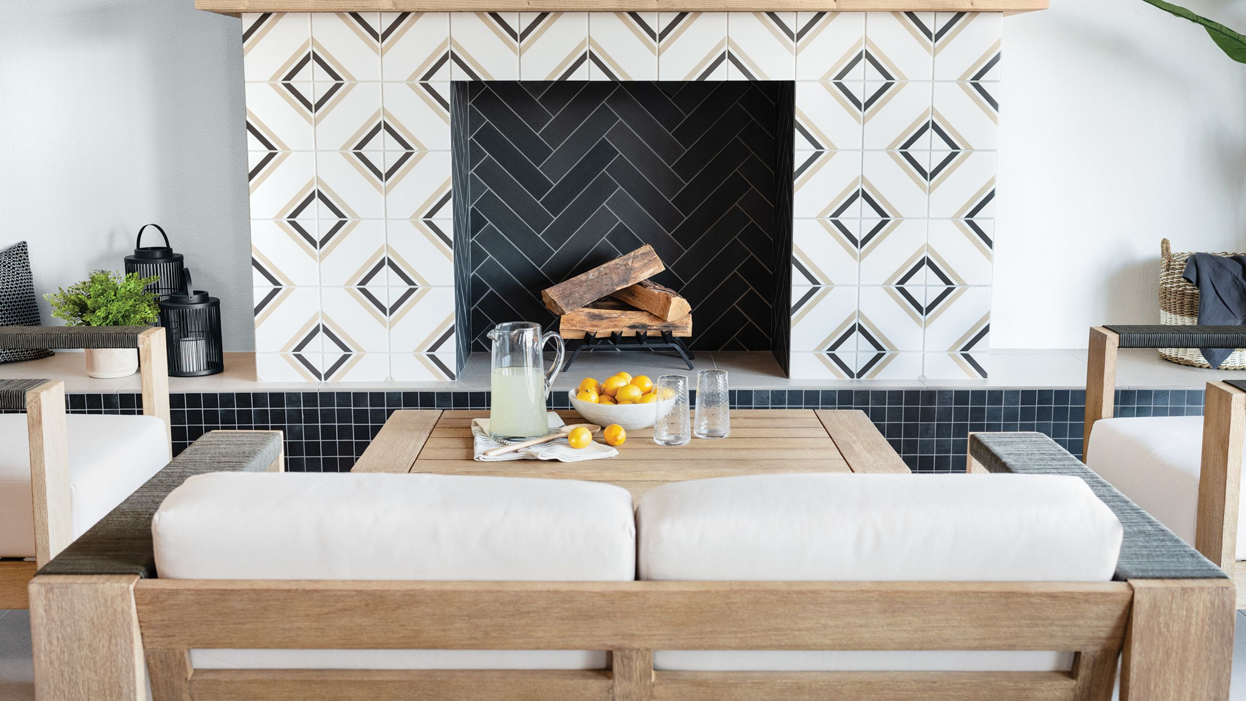 """Cement Tile Fireplace Lovely Tuscany 8"""" X 8"""" Floor & Wall Tile In Dk Blue Blue Gray St"""