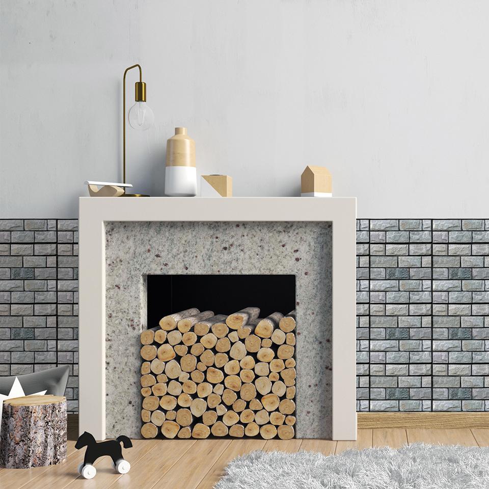 Cement Tile Fireplace New 3d Waterproof Self Adhesive Wallpaper for Living Room Bedroom Brick Wallpaper for Kitchen Backsplash Tiles Bathroom Home Decor Beautiful Wallpaper