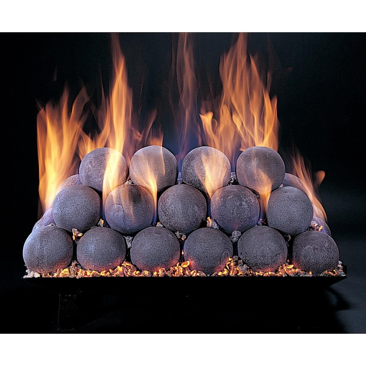 "Ceramic Fireplace Balls Best Of 18"" Natural Fire Balls Vented Match Light Custom Embers Pan"