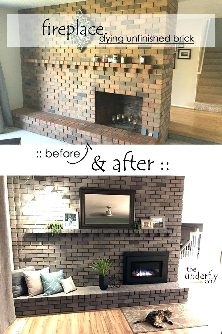 changing brick color without paint white wash or stain using concrete dye fireplace makeover from vintage orange and brown to a modern grey