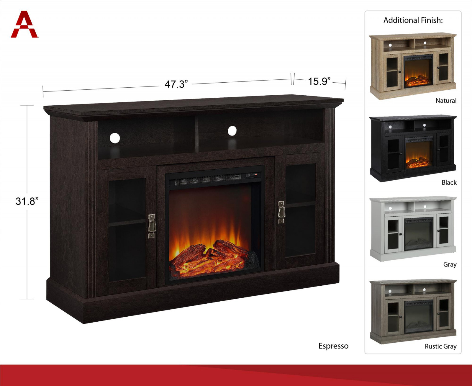 electric fireplace tv stand belle ameriwood home chicago electric fireplace tv console for tvs up to a of electric fireplace tv stand
