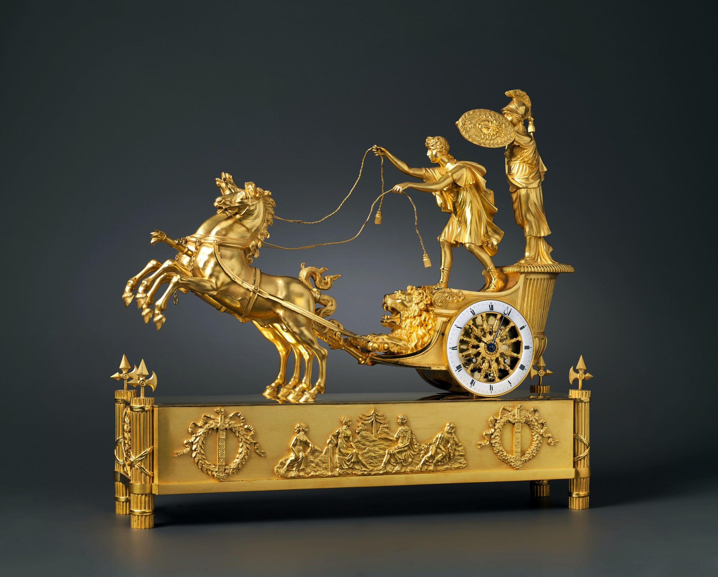 Clock Over Fireplace Elegant Jean andré Reiche attributed to An Empire Chariot Clock