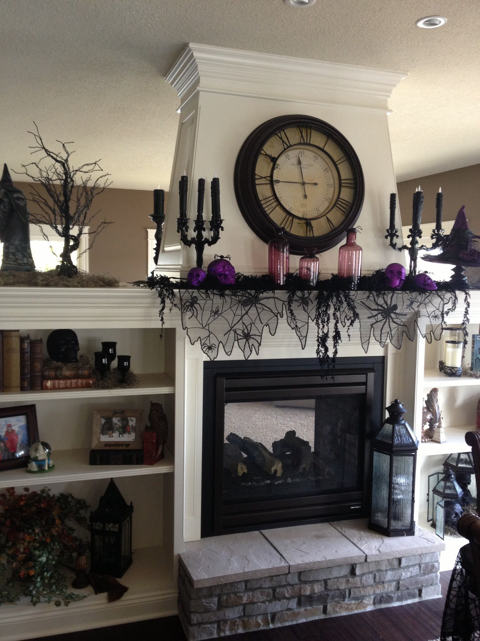 Clock Over Fireplace Inspirational 40 Incredible Halloween Fireplace Mantel Design Ideas