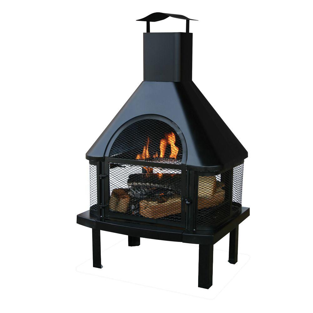 Connan Steel Wood Burning Outdoor Fireplace Best Of 45 In H Steel Wood Burning Outdoor Fireplace with Chimney and Included Wood Grate and Cooking Grate