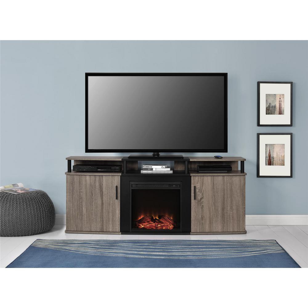 weathered oak finish ameriwood fireplace tv stands hd e1 1000