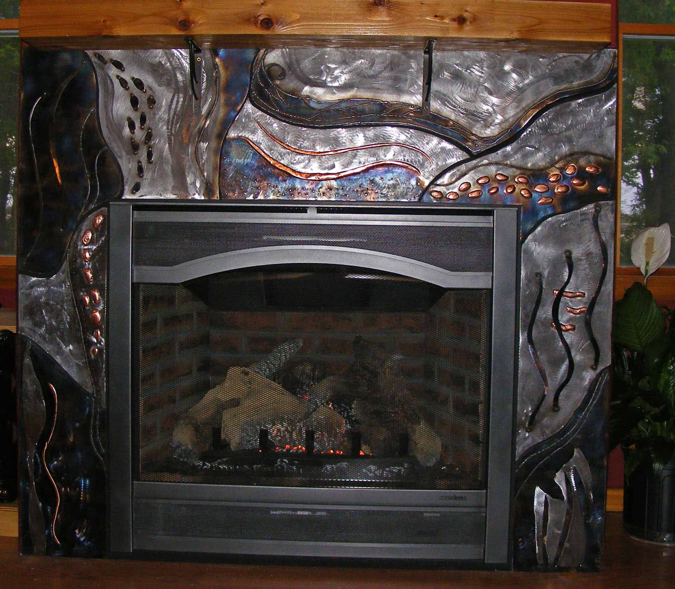 Copper Fireplace Screen Inspirational Steel and Copper Metal Fireplace Surround
