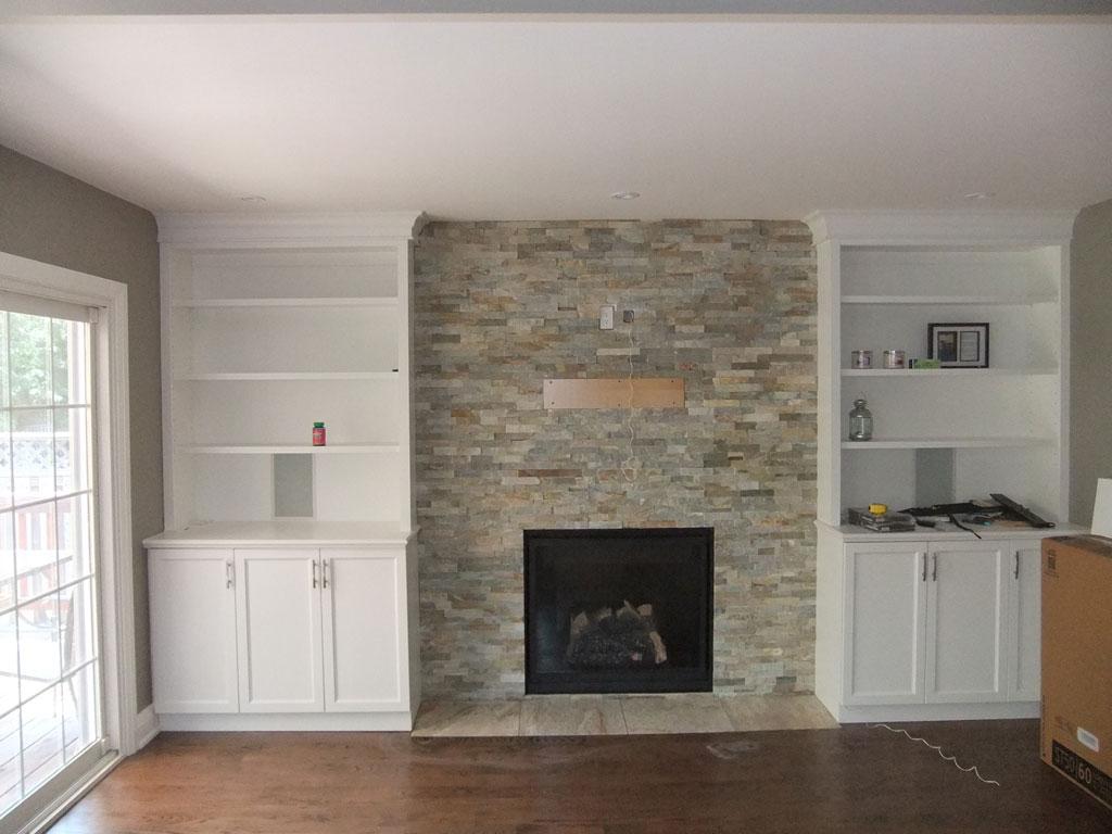 Ledger stone fireplace 1