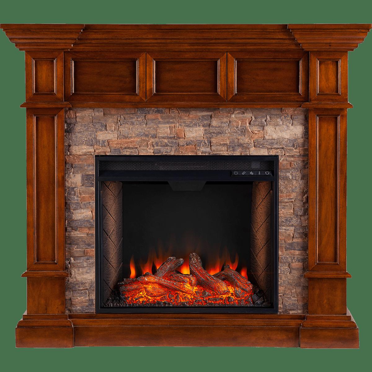 southern enterprises merrimack smart alexa enabled simulated stone convertible electric fireplace oak main