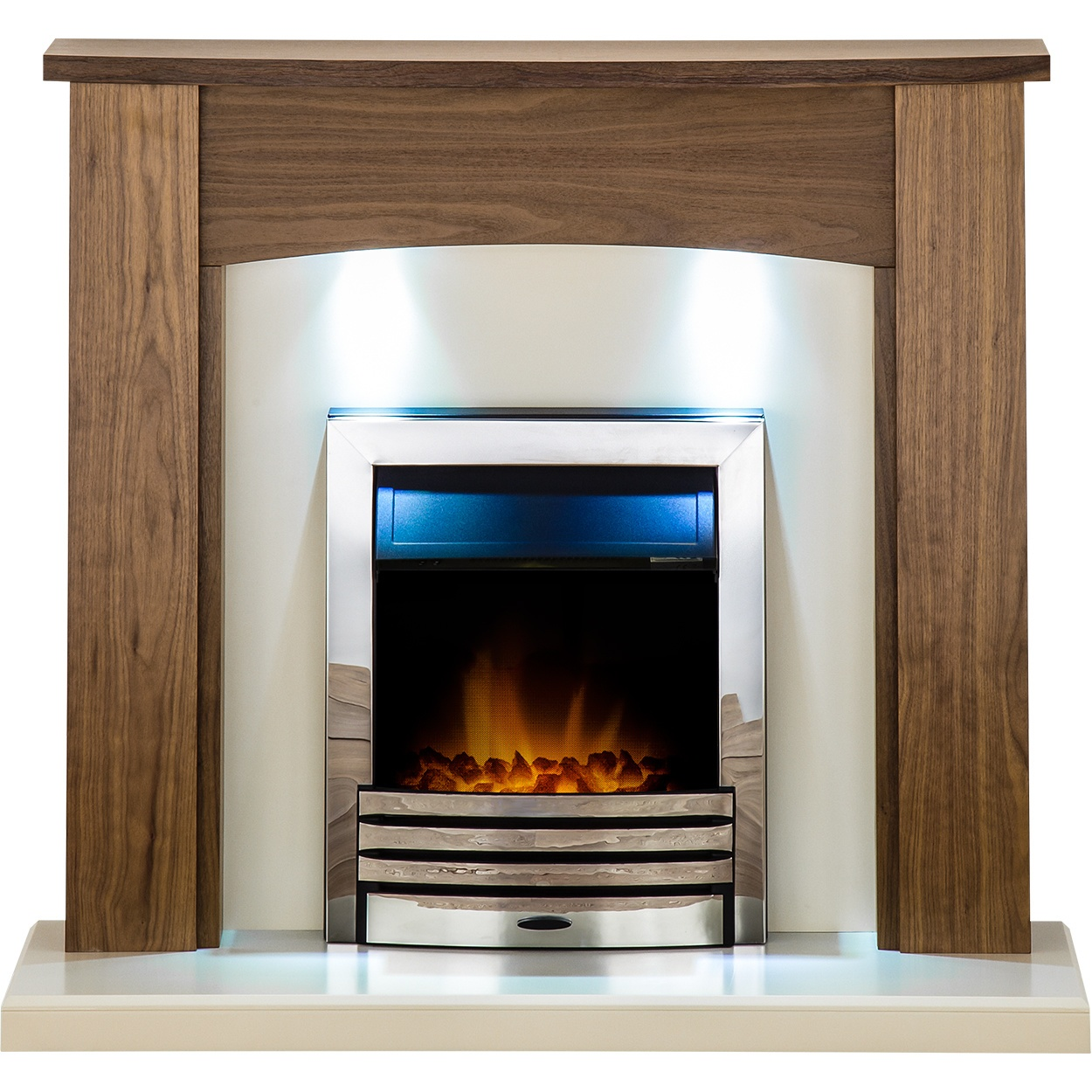 adam stanford fireplace suite in walnut with eclipse electric fire in chrome and downlights 48 inch