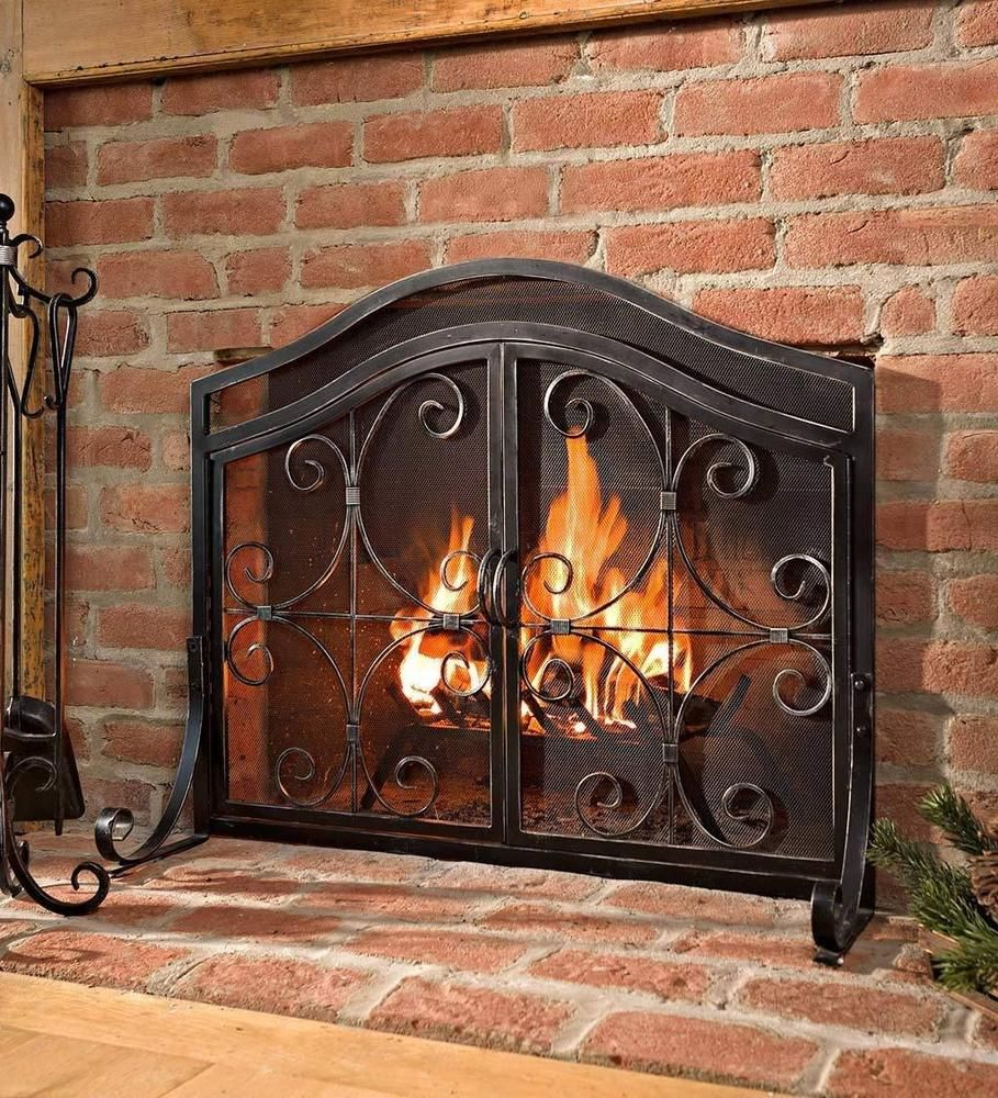 Curved Fireplace Screen Elegant Fireplace Protective Screen with Doors Durable Wrought Iron