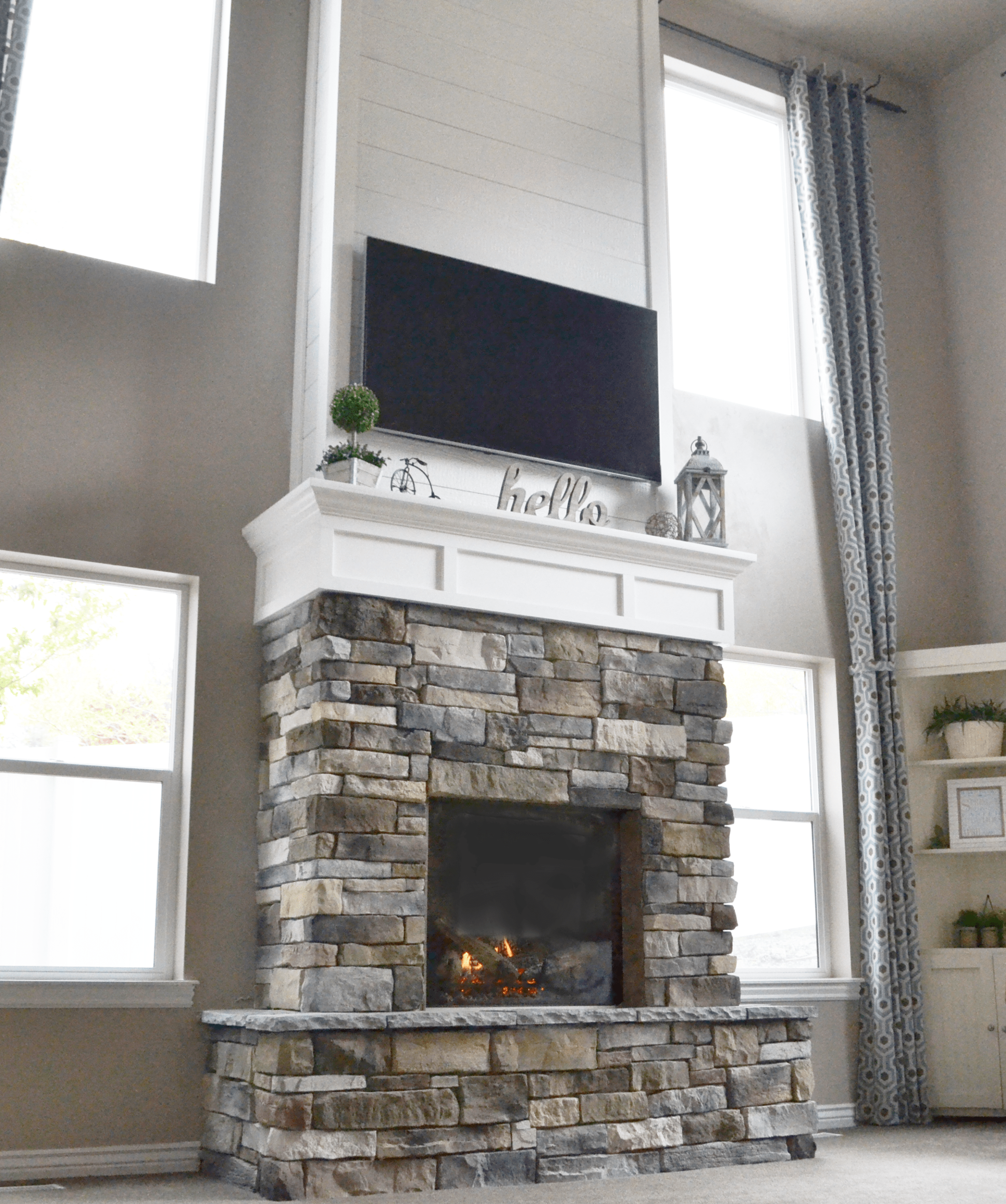 Diy Fireplace Wall Beautiful Diy Fireplace with Stone & Shiplap
