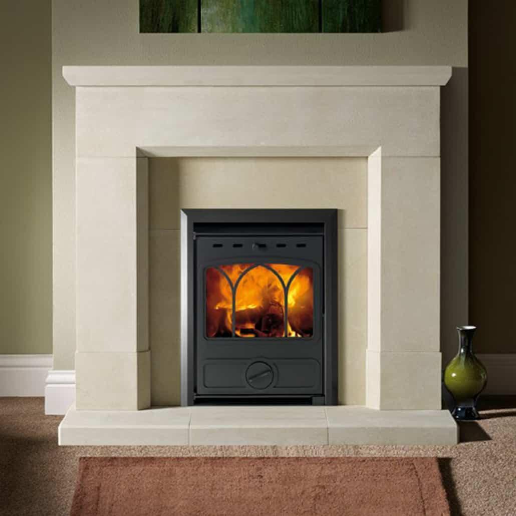 Artisan sandstone fireplace Parrona Antiqued small