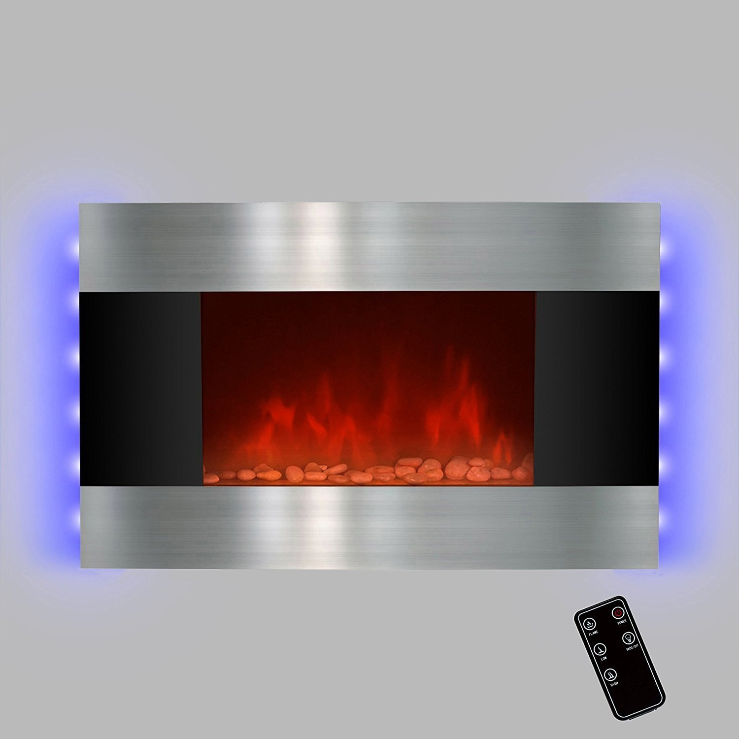 """Dynasty Fireplaces New Led Backlit 36"""" Stainless Steel Wall Mount Heater Fireplace"""