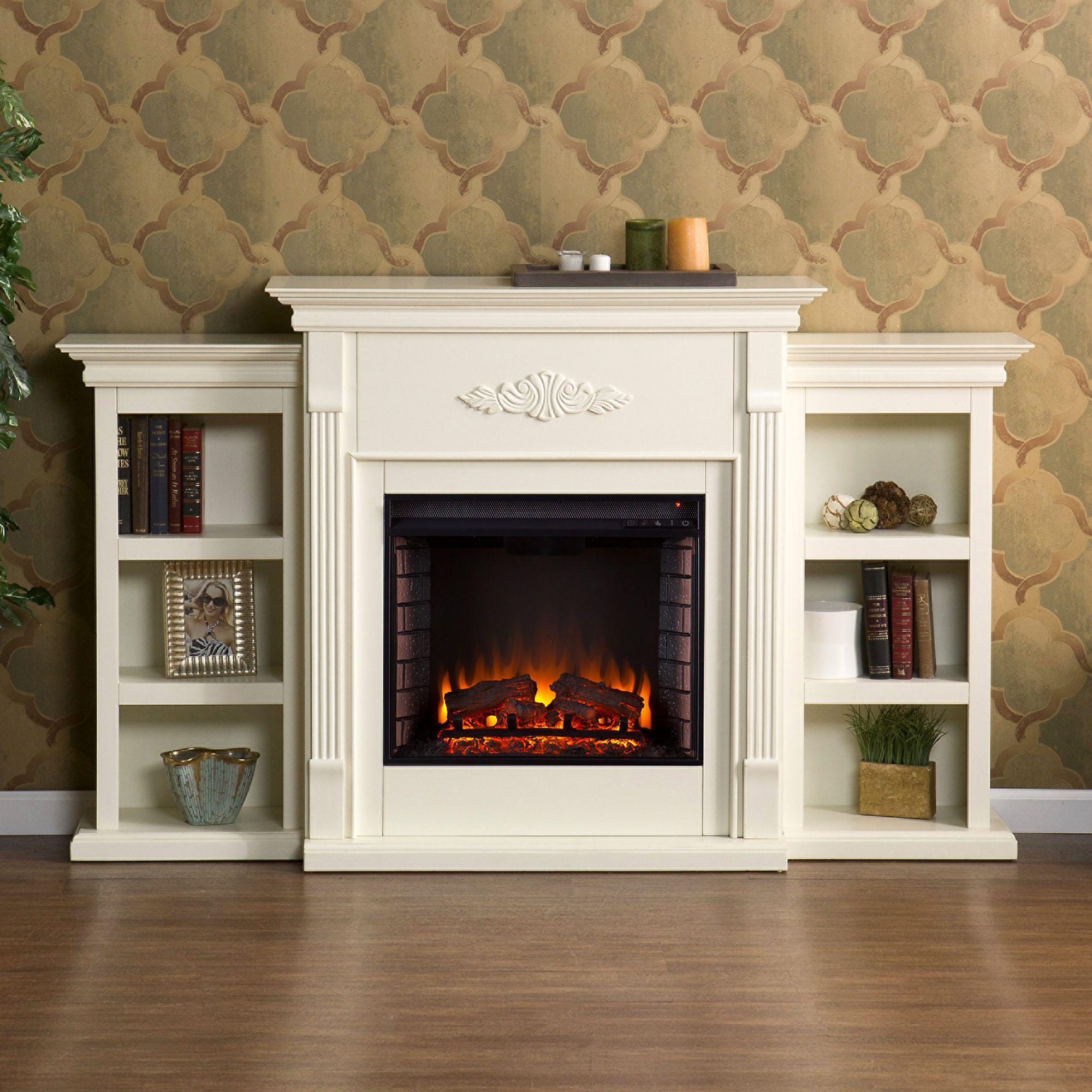 Electric Fireplace Bookcase Inspirational Sei Newport Electric Fireplace with Bookcases Ivory