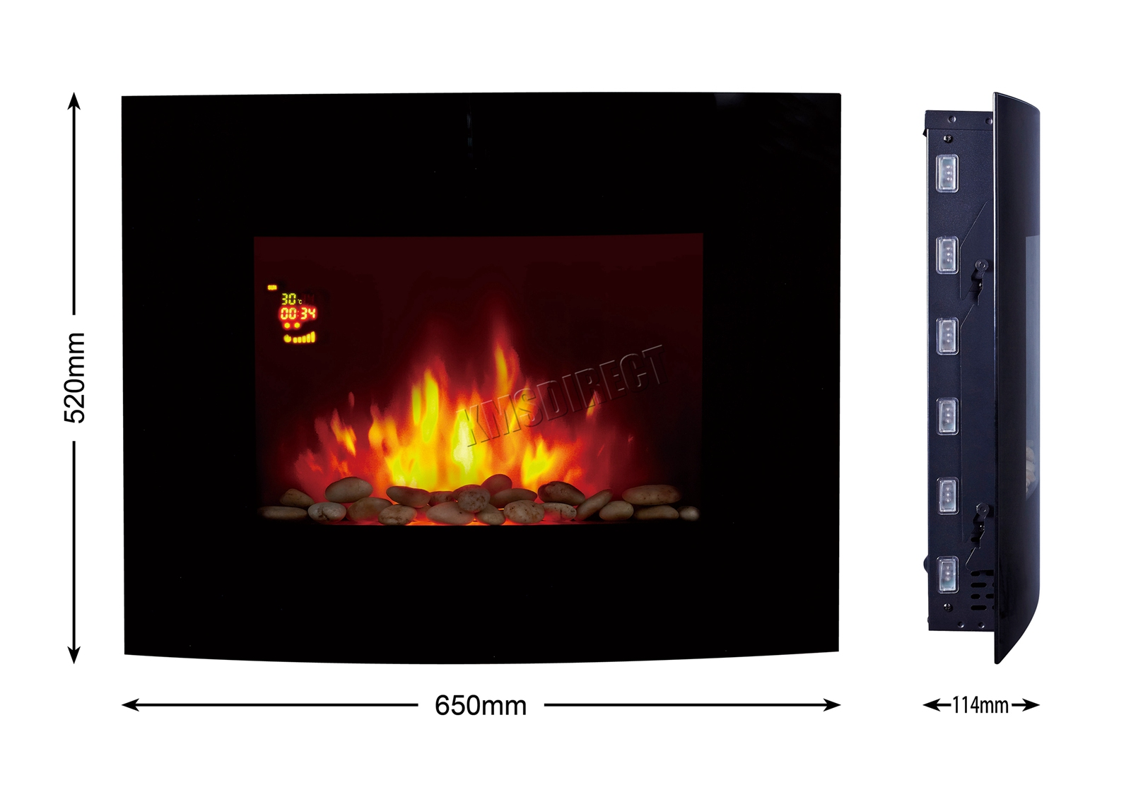 Electric Fireplace Remote Control Replacement Awesome Details About Wall Mounted Electric Fireplace Glass Heater Fire Remote Control Led Backlit New