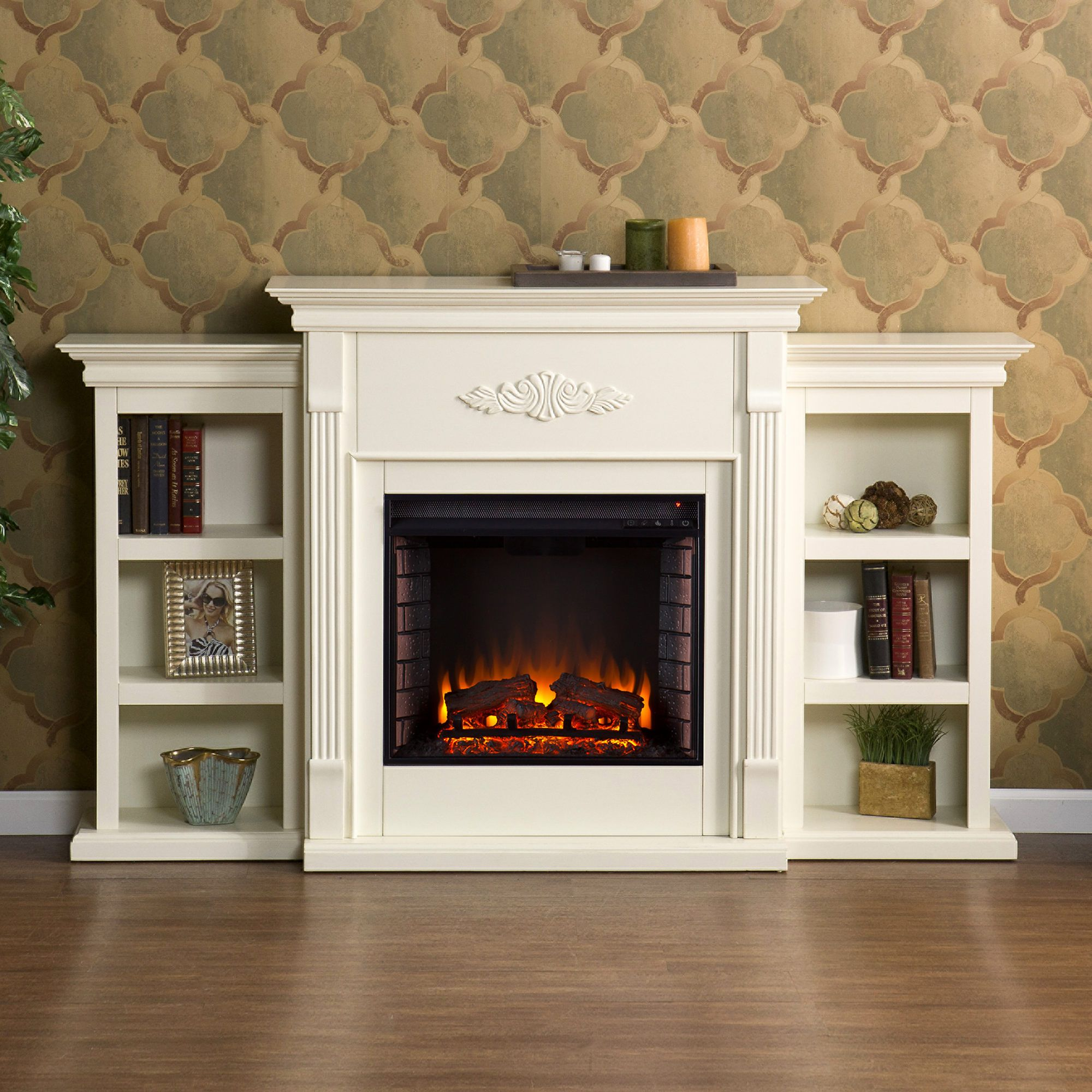 Electric Fireplace with Bookshelves Luxury Sei Newport Electric Fireplace with Bookcases Ivory