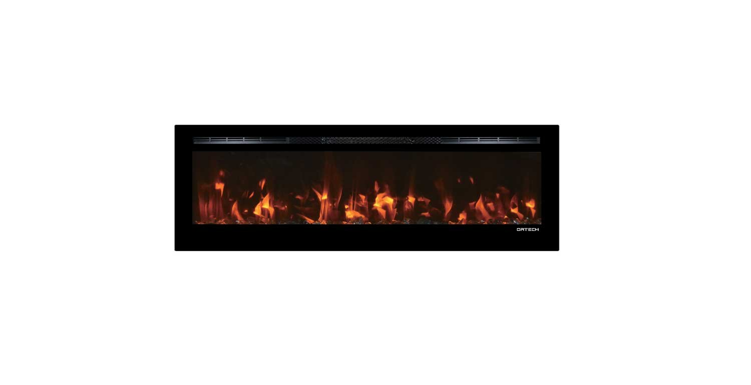 Electric Fireplace with Glass Rocks Beautiful ortech Flush Mount Electric Fireplace Od B50led with Remote Control Illuminated with Led