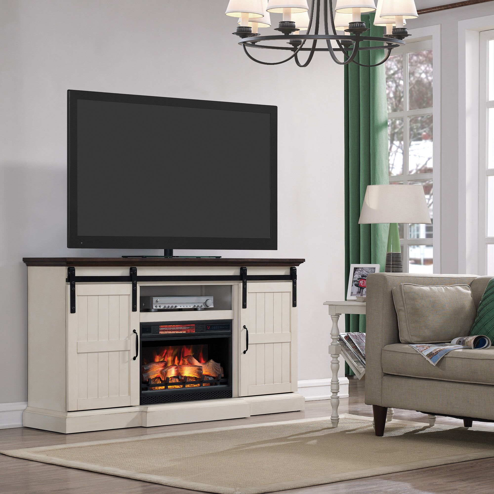 """Electric Fireplace with Sliding Barn Doors New Glendora 66 5"""" Tv Stand with Electric Fireplace"""