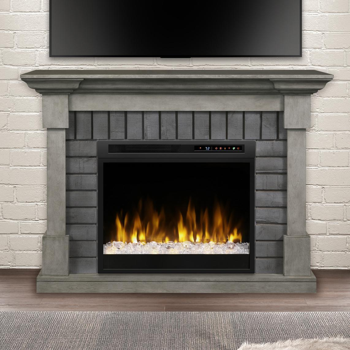"Electric Fireplaces Direct Beautiful Dimplex Royce 52"" Electric Fireplace Mantel Glass Ember"