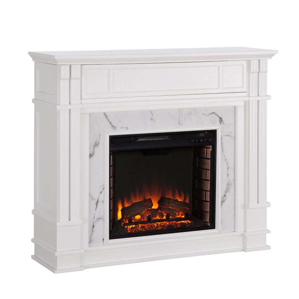 Faux Brick Electric Fireplace Lovely Highpoint Faux Cararra Marble Electric Media Fireplace White