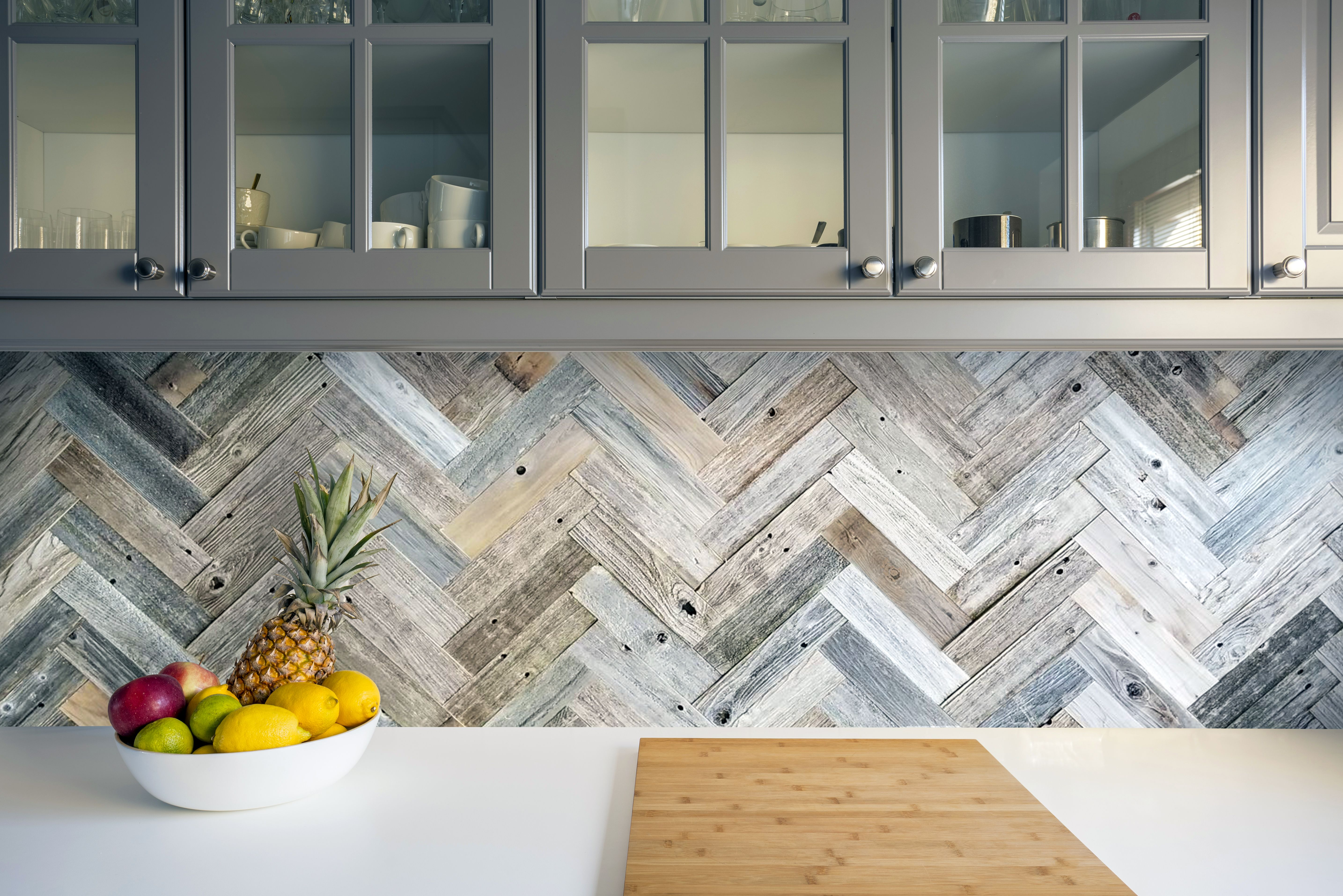 Fireplace Backsplash Beautiful Herringbone Backsplash Using Peel and Stick Barn Wood