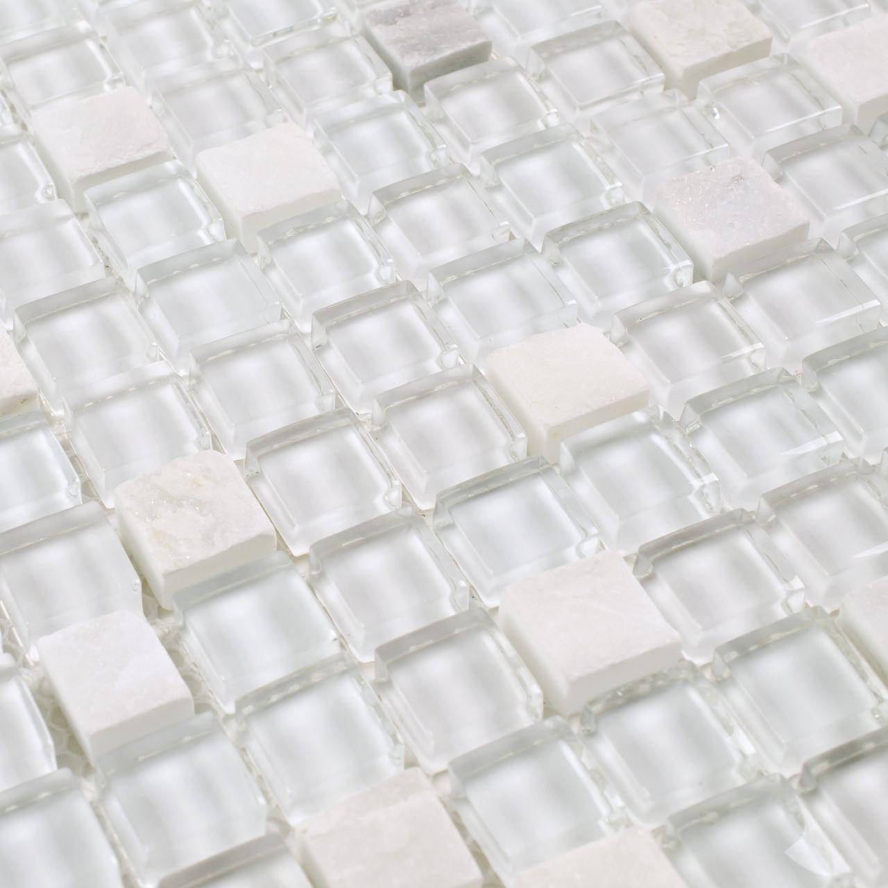 Fireplace Backsplash Beautiful Mini Stone Glass Mosaic Tile White Ice Tile