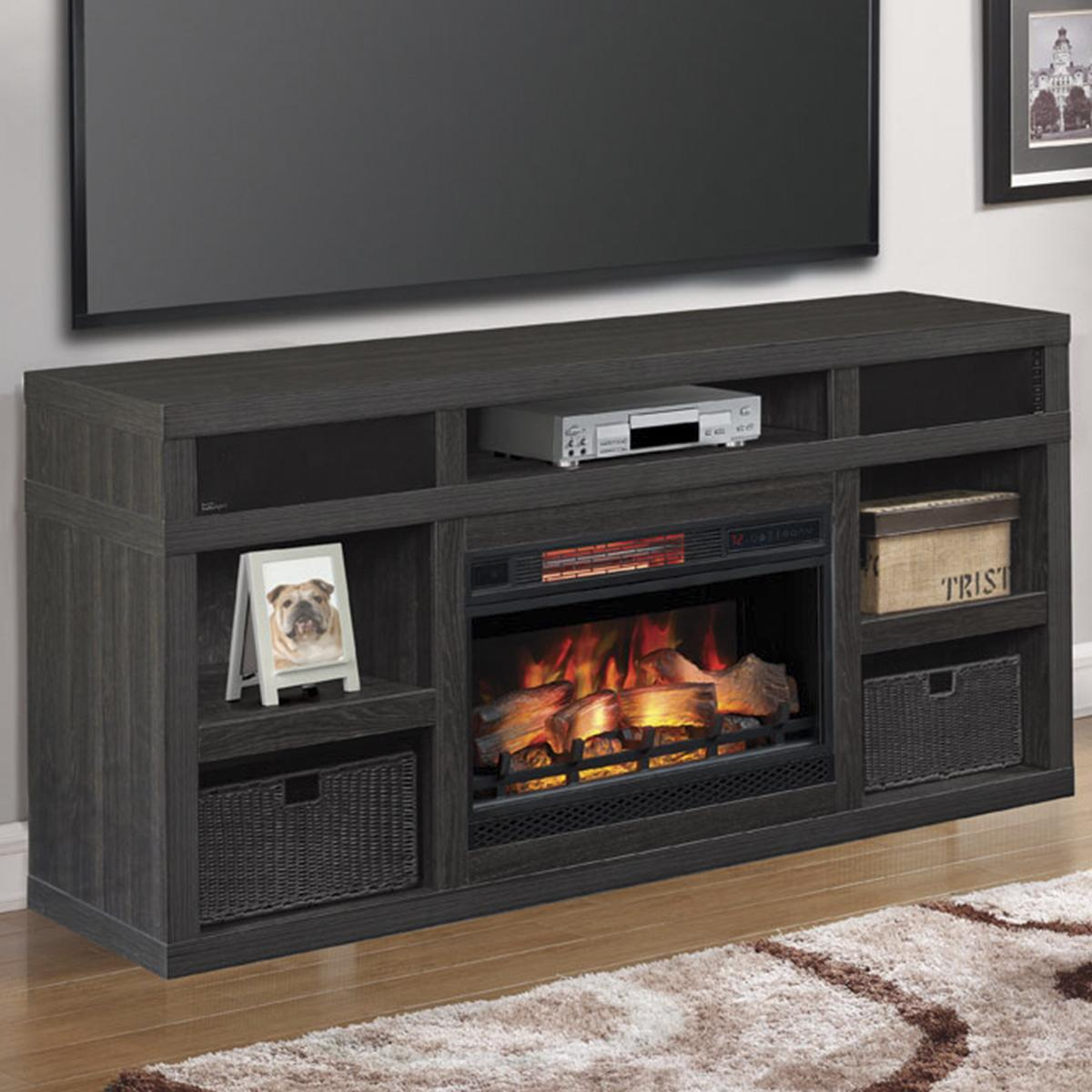 "Fireplace Des Moines Fresh Fabio Flames Greatlin 64"" Tv Stand In Black Walnut"