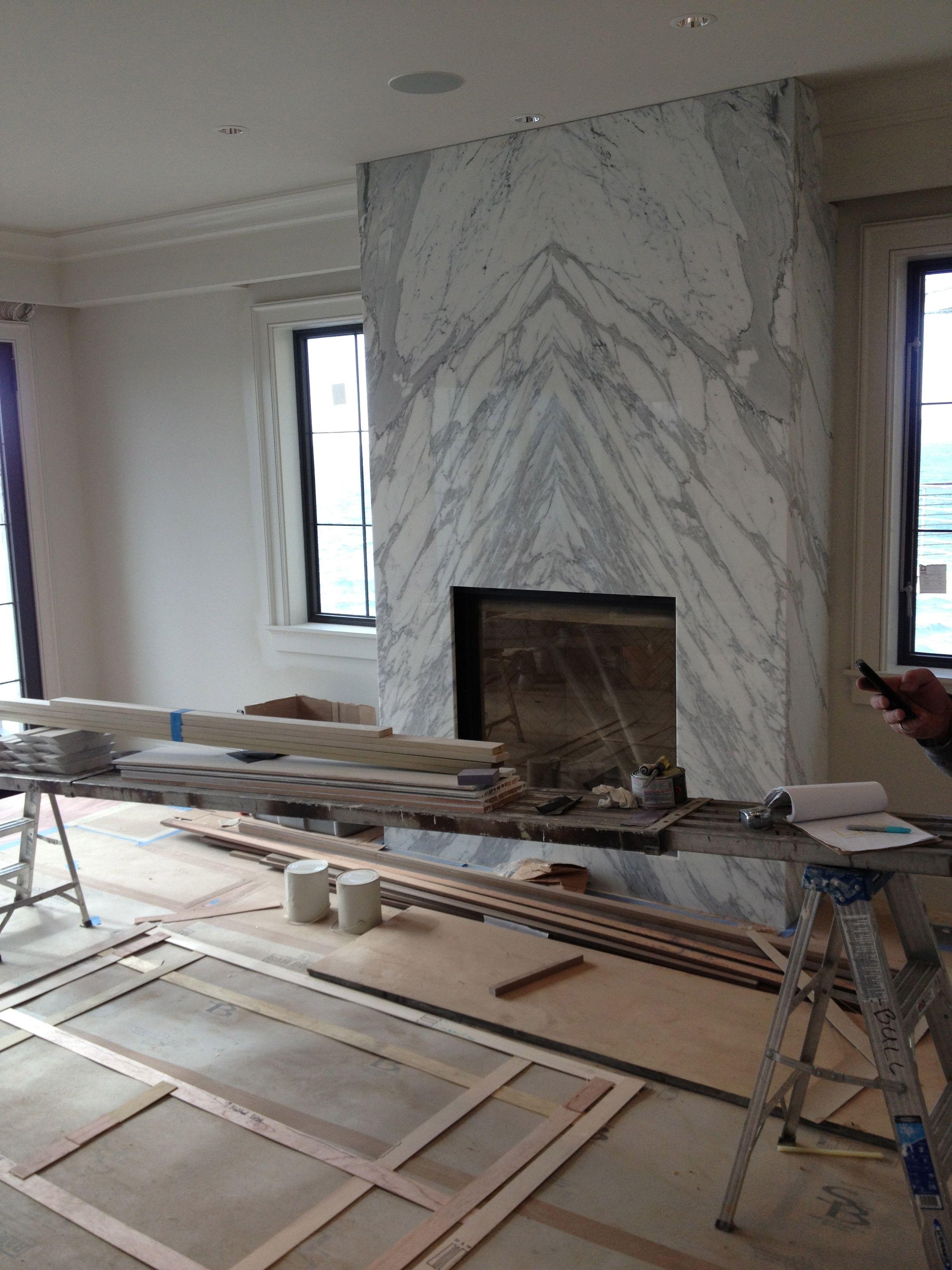 Fireplace Drawing Inspirational Contemporary Slab Stone Fireplace Calacutta Carrara Marble
