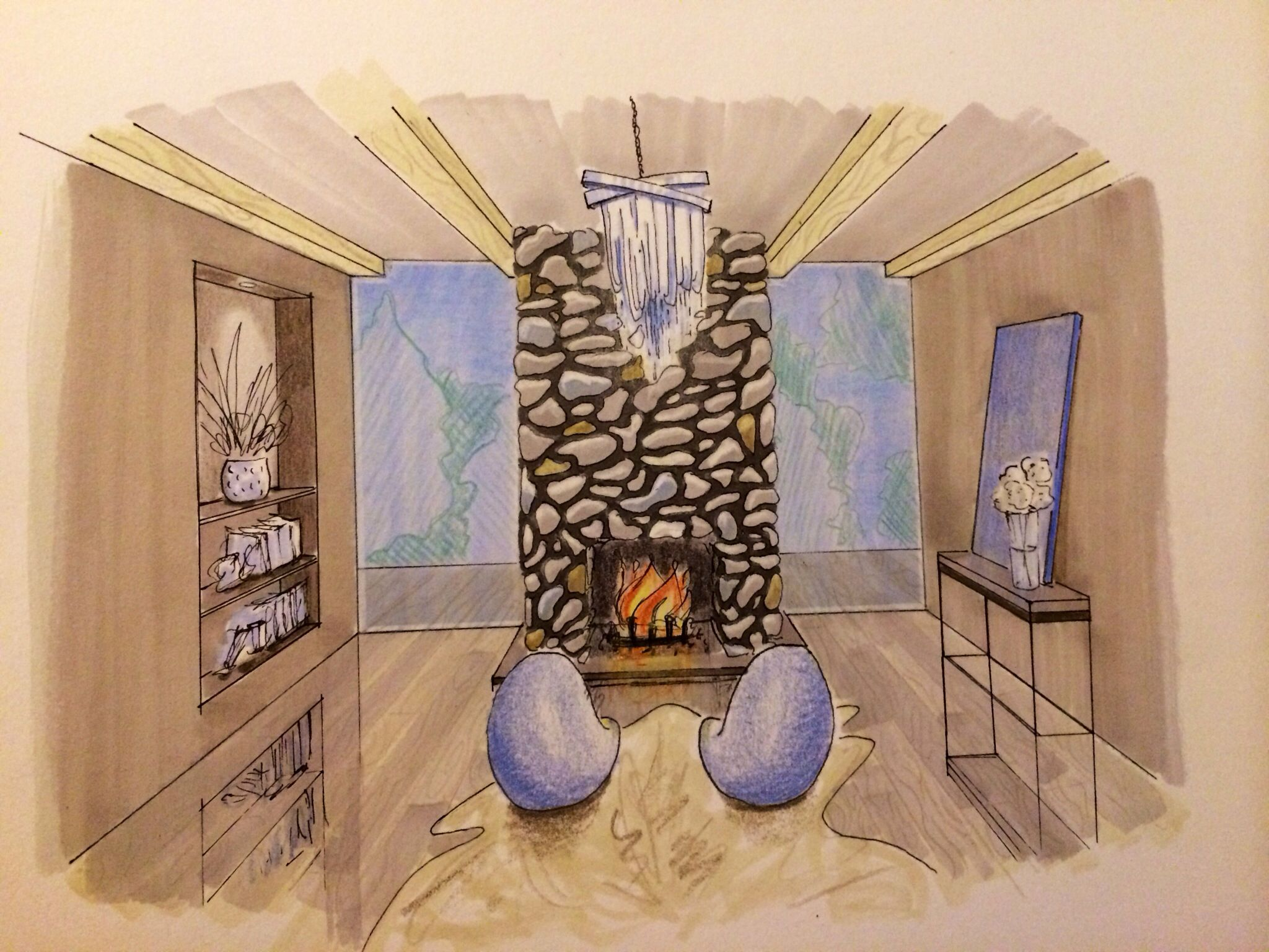 Fireplace Drawing New Interior Design Hand Rendering Markers Colored Pencils
