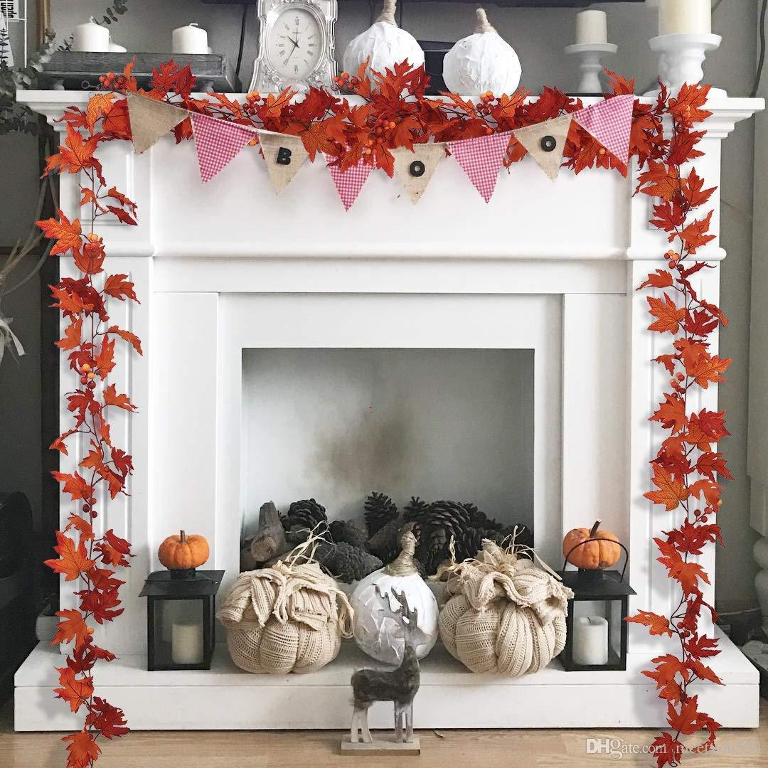 2pcs artificial flowers maple leaves garland