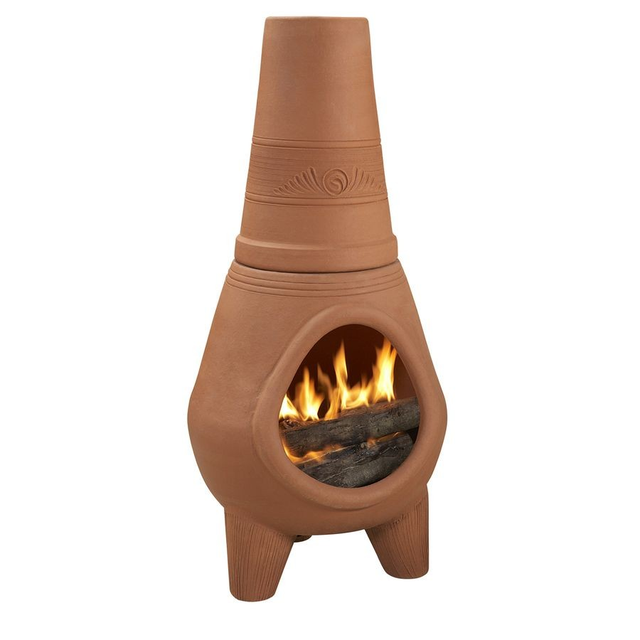 chiminea lowes new shop pr imports 42 in h x 18 5 in d x 18 5 in w terracotta clay of chiminea lowes 1