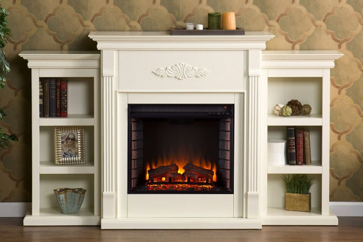 Fireplace Mantel Heaters Fresh Sei Newport Electric Fireplace with Bookcases Ivory