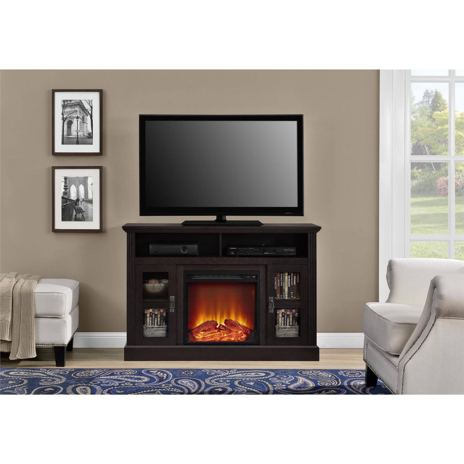 electric fireplace tv stand chic ameriwood home chicago electric fireplace tv console for tvs up to a of electric fireplace tv stand