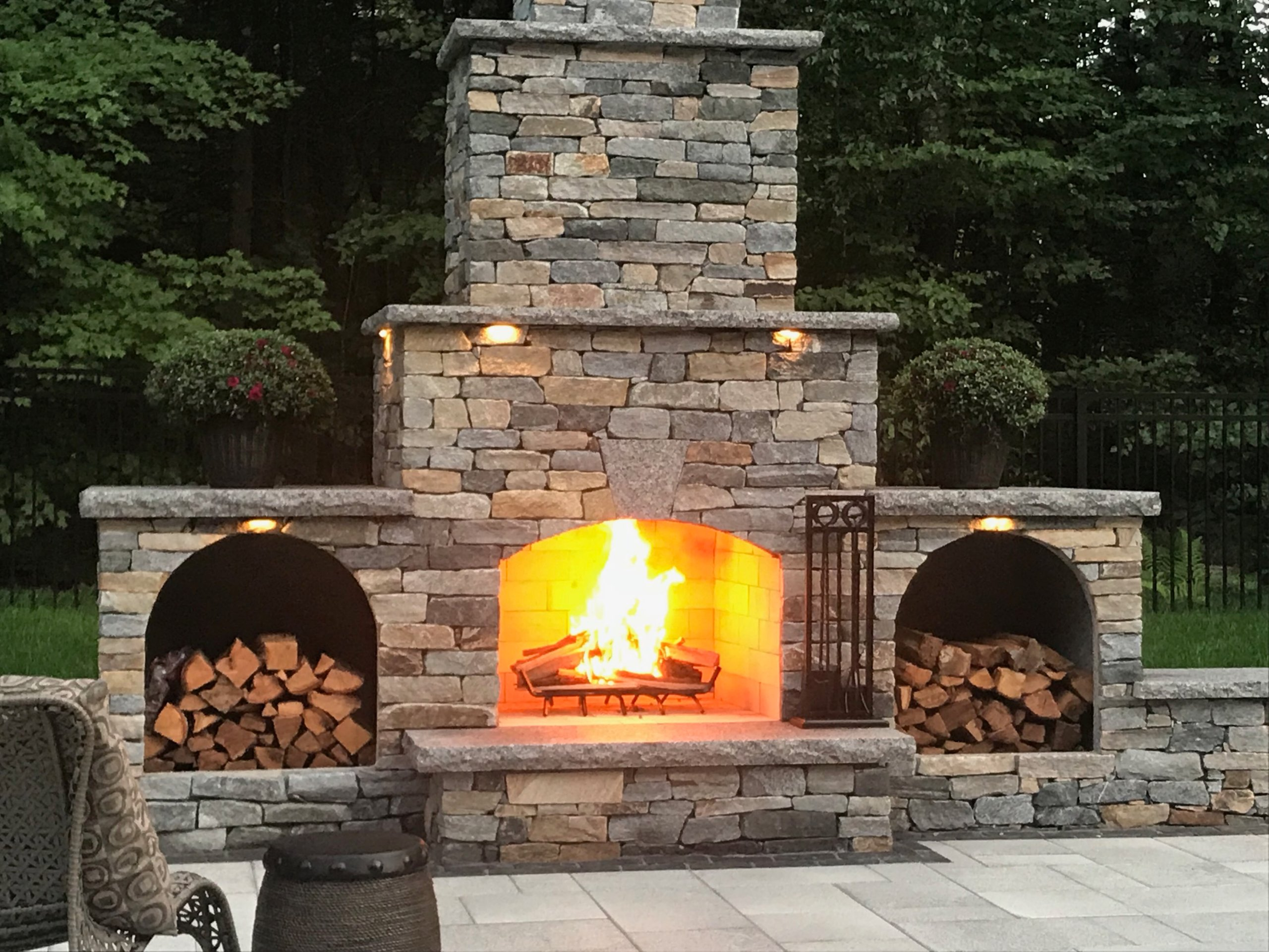 Outdoor Fireplace Kit Contractor Wood Storage Boxes 2