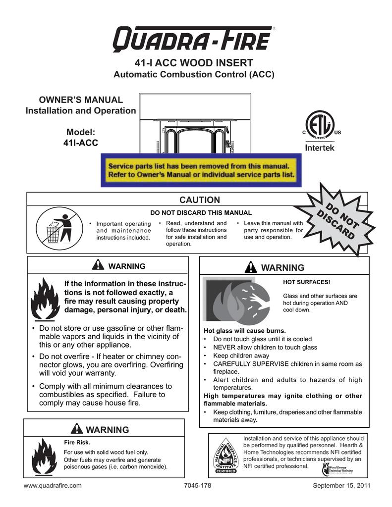 Fireplace Refractory Panels Fresh Quadra Fire 41i Acc Owner S Manual