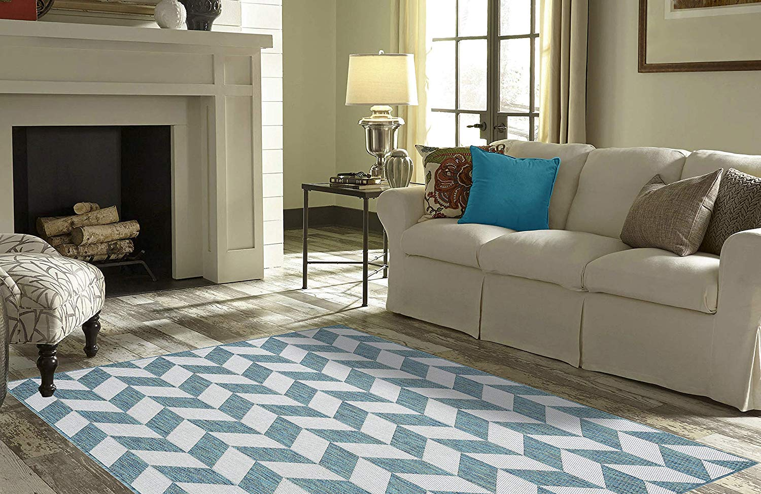 """Fireplace Rugs Amazon Inspirational Priyate Florida Collection All Weather Indoor Outdoor Geometric Triangle Rug for Living Room Bedroom and Dining Room 5 3"""" X 7 6"""" Ocean"""