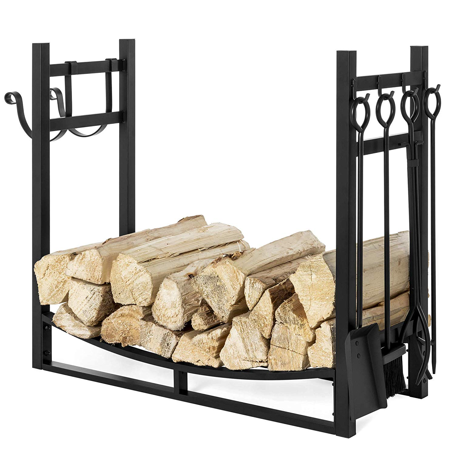 Fireplace tool Set with Log Holder Unique Best Choice Products 43 5in Steel Firewood Log Storage Rack Accessory and tools for Indoor Outdoor Fire Pit Fireplace W Removable Kindling Holder