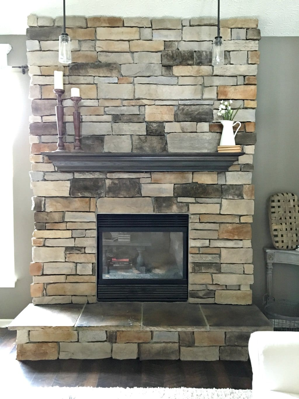 how to paint a stone fireplace before photo