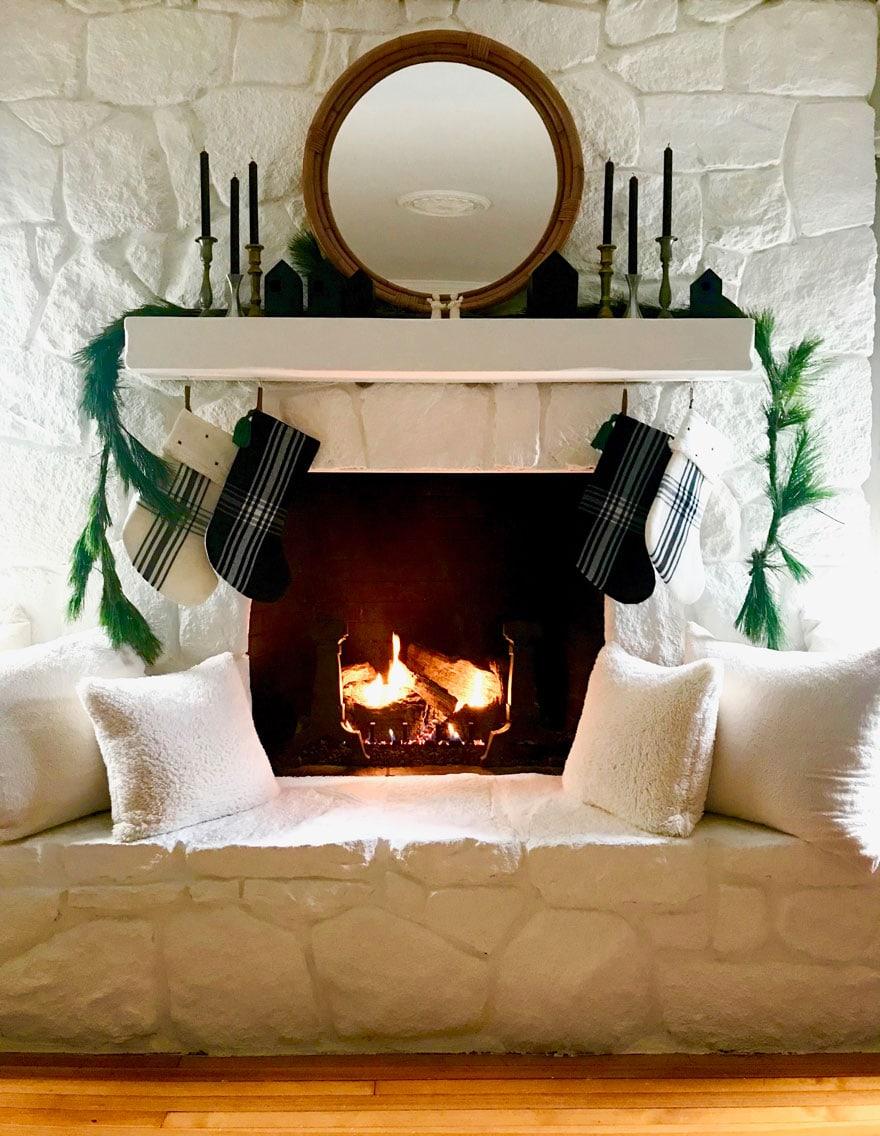 painted stone fireplace mantel white chalk paint