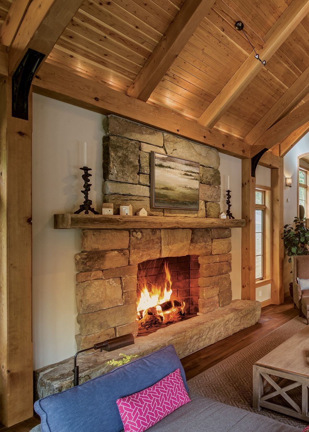 Fireplaces Etc Unique E Family Builds A Relaxing New York Timber Frame Retreat